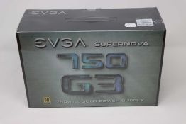 A boxed as new EVGA SuperNOVA G3 750 Watt Modular Power Supply. Full Modular, 80 PLUS Gold, SLI/