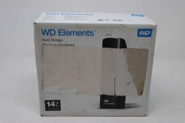 A boxed as new WD 14 TB Elements Desktop External Hard Drive with USB 3.0 and AC adapter, Black.
