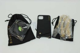 A boxed as new Bandolier Emma Pebble Leather phone case for iPhone 11 and crossbody strap in Black/