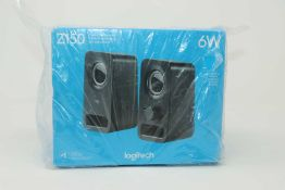 A boxed as new pair of Logitech Z150 Compact Multimedia Stereo Speakers (3.5mm Audio Input) (Box