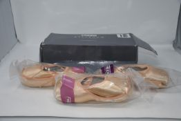 Two pairs of Freed of London pointe shoes size 5. One pair of Freed of London pointe shoes size 7.