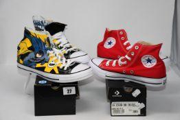 One as new Converse x Batman Chuck Taylor All Star High Top size UK 9. One as new Converse Red all