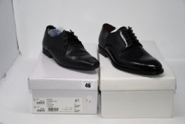 One as new Next Signature leather plain black shoes size 9. One pre-owned Kurt Geiger Kendal black