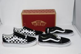 One as new Vans Old School Checkerboards size UK 5.5. One as new Vans Old School black/white size UK