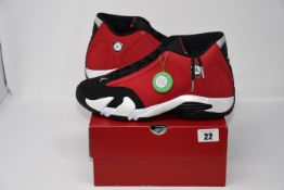 One pair of as new Air Jordan 14 Retro black/gym red-white-off white size UK 10.5 (487471006).