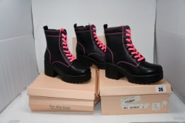 Two as new Koi Footwear Kitana Pink Laced boots size 5 (ND63). One as new Koi Footwear Kitana Pink