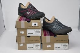 Two as new Skechers Bikers MC Power-House Lightweight Charcoal Trainers size 5. One as new