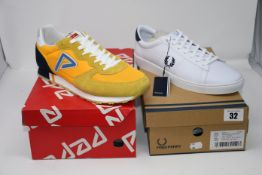 One as new Pepe Jeans Klein Archive Summer trainers size 44 (PMS30610 097). One as new Fred Perry