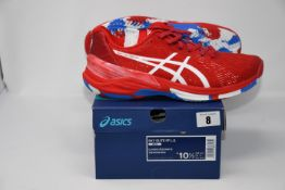One pair of man's boxed as new Asics Sky Elite FF L.E trainers in classic red and white (UK 9.5).