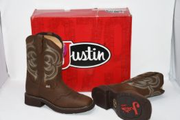 One as new Justin Women's Brown Square Toe Justin Gypsy with Tan Pattern Top size UK 7.5 (L9984).