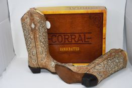 A pair of boxed as new Corral handcrafted beige inlay & flowered embroidery & stud (A3670) cowboy