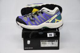 One pair of as new Salomon XA Pro 1 Adv colour: vintage kaki/aqua blue/meadowbrook size: 8.5.