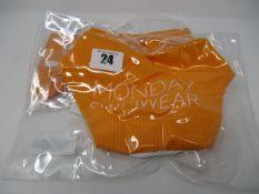 One as new Monday Swimwear Puerto Rico tangerine rib top size L. One as new Monday Swimwear Byron