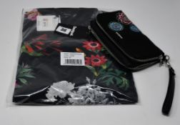 One as new Desigual black with floral decorations wallet (19SAYF08. small mark on the back bottom
