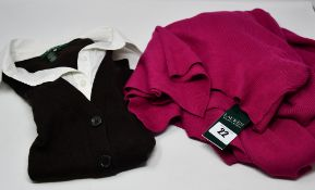 One as new Ralph Lauren fucsia open cardigan size XXL. One as new Ralph Lauren knitted brown