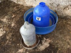 Poultry water and feed dispenser