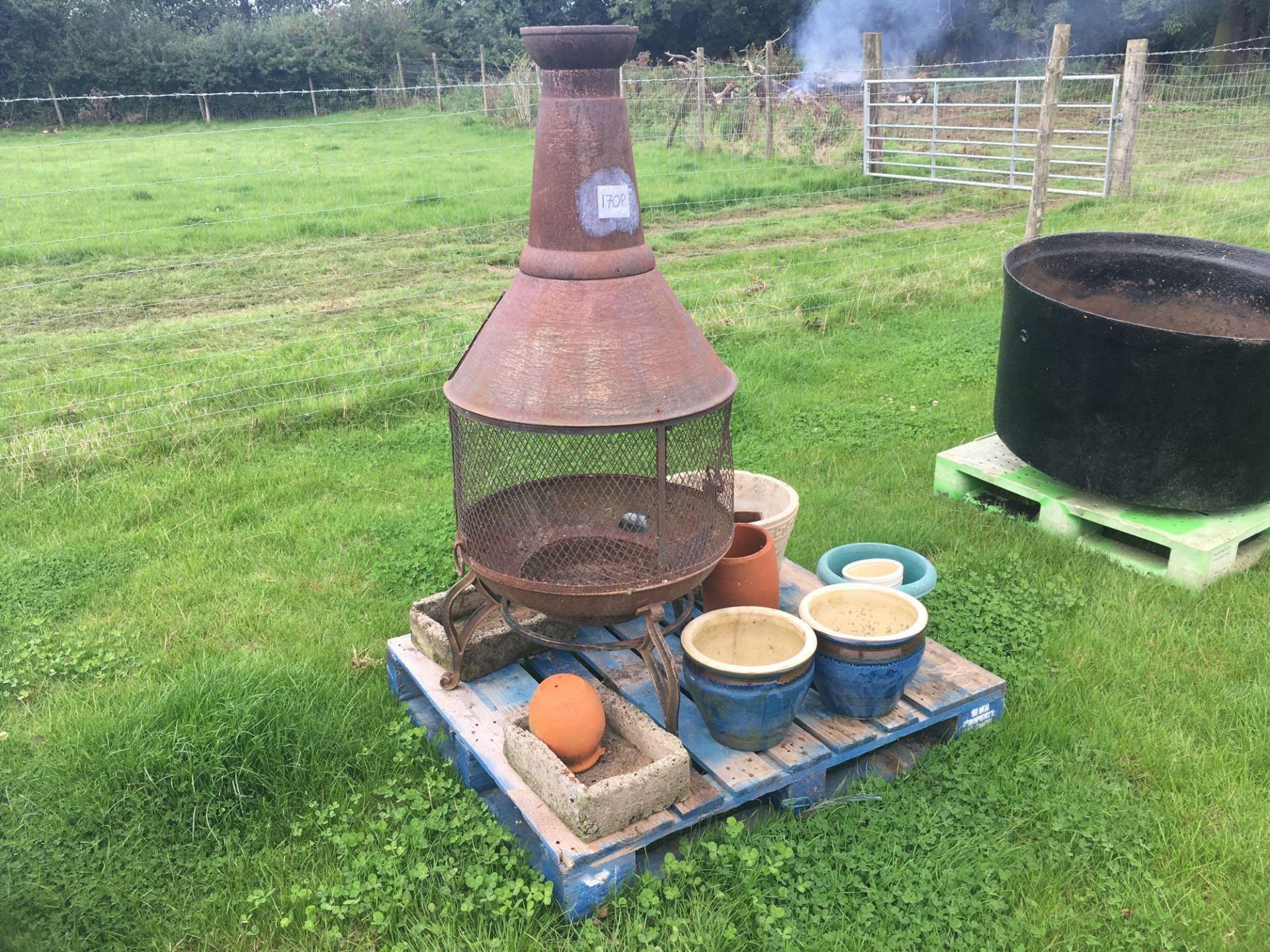 Lot 170p - Chiminea with garden pots
