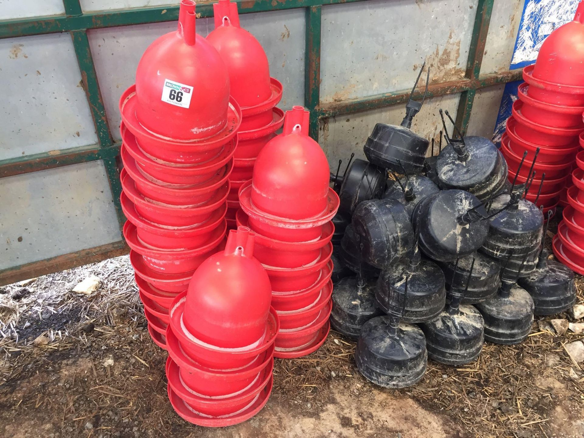 Lot 66 - Quantity poultry water drinkers and weights
