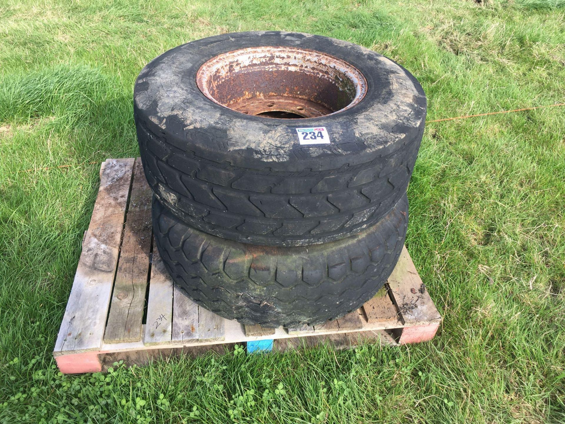 Lot 234 - Pair 340/65R18 wheels and tyres.