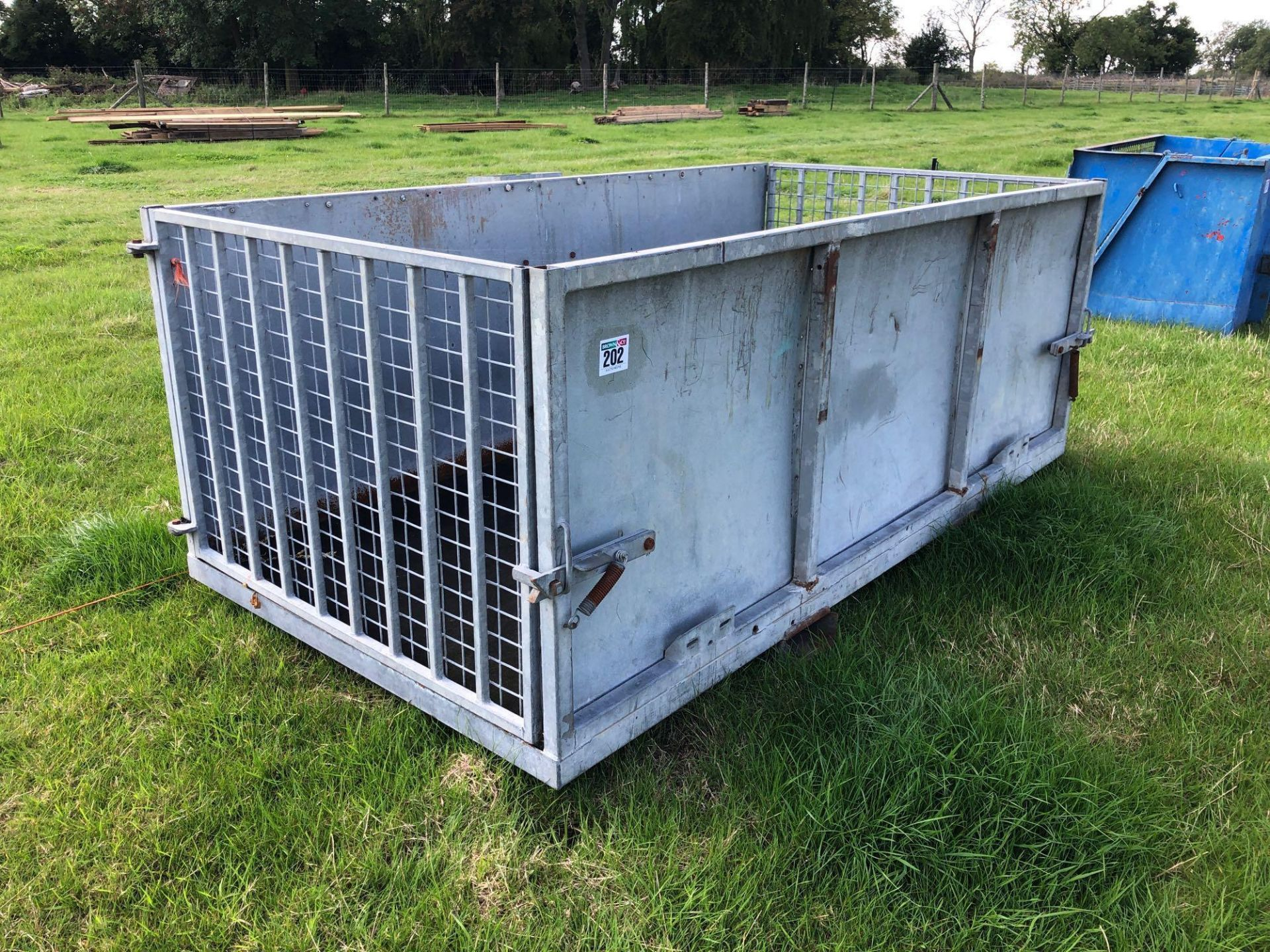 Lot 202 - Metal livestock transfer box with pallet tine attachments.