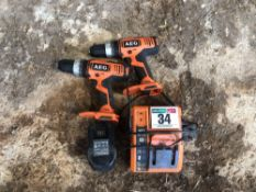 Set AEG battery drills and chargers
