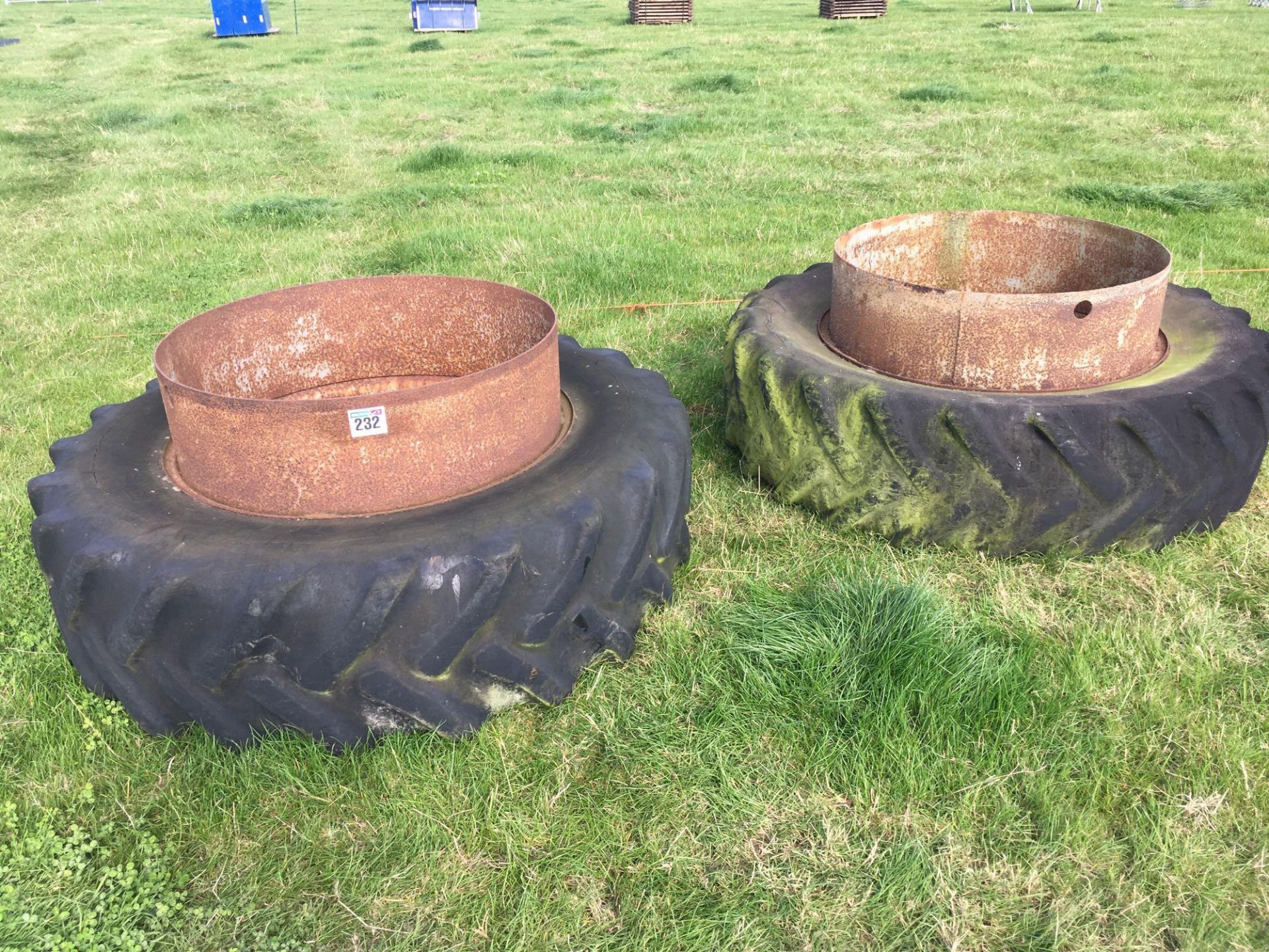 Lot 232 - Pair Goodyear 18.4R38 dual wheels and tyres.