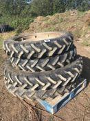 Set of row crop wheels. Fronts 9.5 R36 (230/95R36). Rears 9.5R48 (230/95R48)