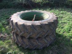 Pair of dual wheels 16.9R38 on Goodyear tyres.NO VAT.