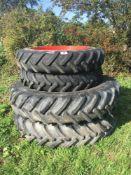 Set of 11.2R36 & 14.9R46 Rowcrop wheels to suit Fendt 716 or Massey Ferguson F6700/7700DVT