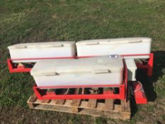 Stocks Micro seeder, 18 outlets, 3 seed boxes and radar metering system. Control box in office.