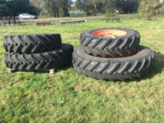 1 set row crop wheels for Class tractor. 14.9 R30 & 14.9 R46.