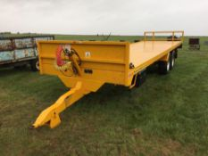 2014 Easterby ET14 twin axle bale trailer with air and hydraulic brakes, LED lighting kit, locker bo
