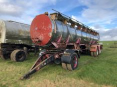 Stainless steel two compartment twin axle tanker with dolly approx. 15,000 litres used for liquid fe