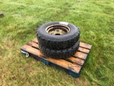Pair 7.50R16 Michelin XCL wheels and tyres to suit Land Rover