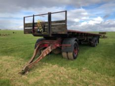 Flat bed trailer 30ft twin axle with plywood floor and dolly