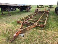 Low loader trailer frame single axle with rear hydraulic wheels