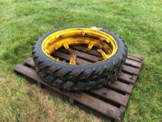Pair 6.00-36 row crop wheels and tyres no centres