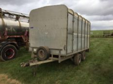 Ifor Williams DP120 3.5t flat bed trailer with livestock box, rear ramp and internal gate. Serial No
