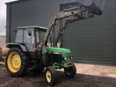 H reg JOHN DEERE 1950 TRACTOR C/W JD175 POWER LOADER & MUCK FORK (LOCATION SHEFFIELD) 6242 HOURS, NO