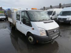 62 reg FORD TRANSIT 100 T350L D/C RWD TIPPER (DIRECT COUNCIL), 1ST REG 10/12, TEST 10/21, 52795M, V5
