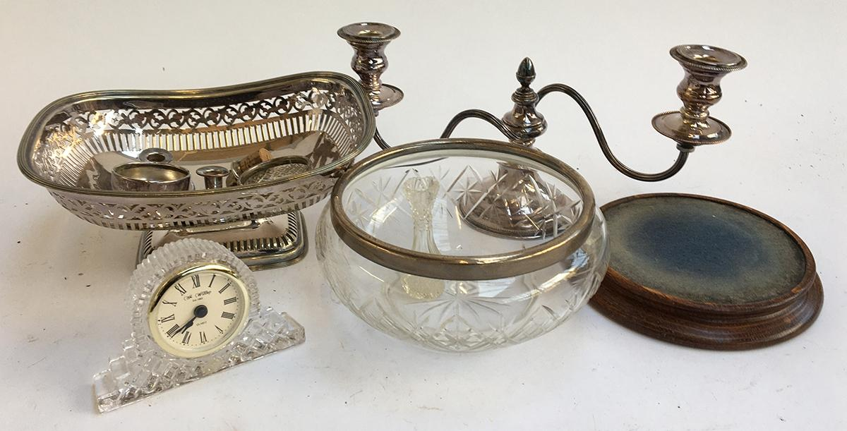 Lot 33 - A small lot of plated wares to include, two arm candlestick; cut glass fruit bowl; small cut glass