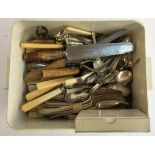 A quantity of plated flatware to include bone handled knives