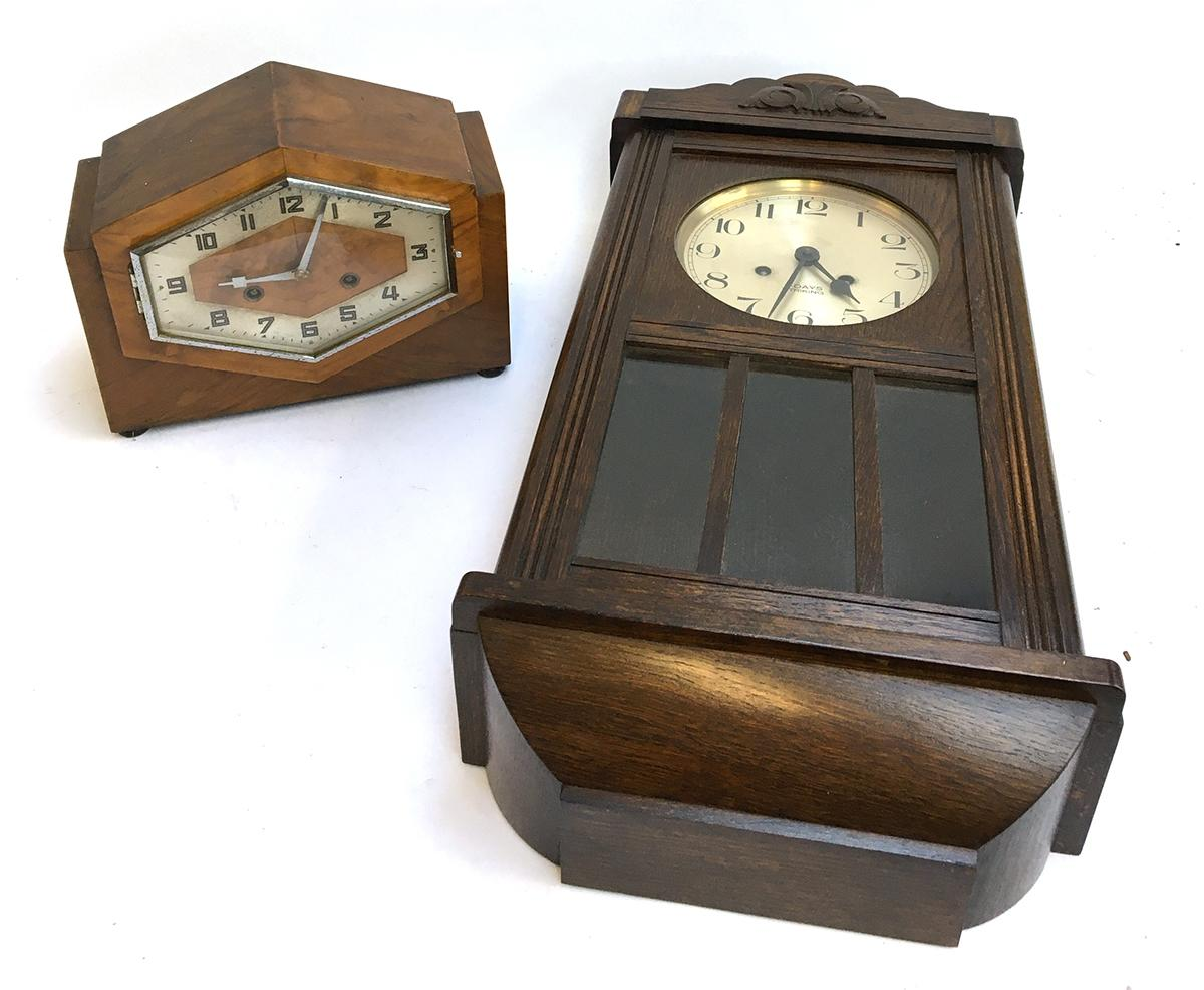 An Art Deco mantel clock; together with an oak cased wall clock with eight day striking movement