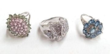 Three 9ct white gold rings with coloured stones, all size N 1/2, gross weight 15.1g