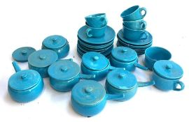 A lot of continental blue ceramics to include cups and saucers, lidded ramekins, pots etc