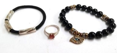 Silver ring with coloured stone plus 2 bracelets one with an evil eye charm