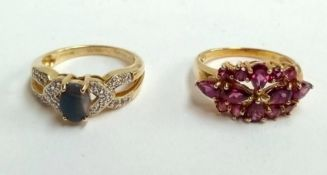 Two 9ct gold dress rings with coloured stones, gross weight 6.8g