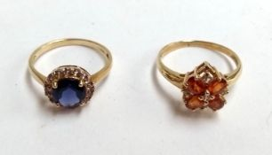 Two 9ct gold dress rings with coloured stones, gross weight 3.8g