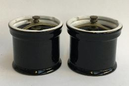 A pair of Comoy's of London tobacco jars, 12.3cmD (2)