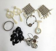 A mixed lot to include silver bracelet, earrings, modern fob watch and others